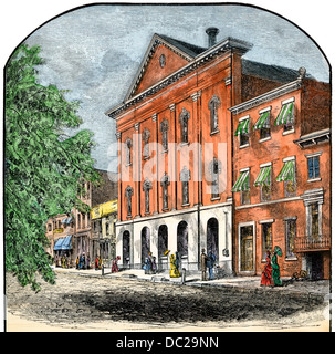 Ford's Theatre, where President Lincoln was shot in 1865, Washington DC. Hand-colored woodcut - Stock Photo