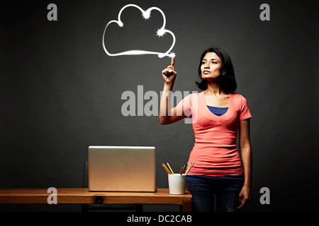 Woman pointing out problem - Stock Photo