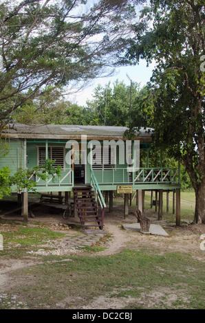 Belize, Crooked Tree Wildlife Sanctuary Visitors Center. - Stock Photo