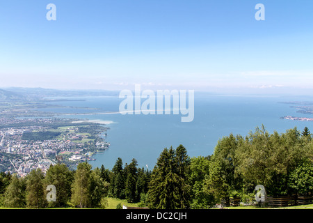View from the Pfaender near Bregenz in Austria on the Lake Constance - Stock Photo