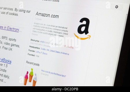 amazon.com browser information and logo - Stock Photo