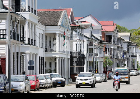Dutch colonial houses at Waterkant street (Waterfront) in Paramaribo, Suriname, South America - Stock Photo