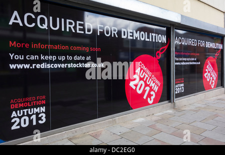 Acquired for demolition signs on property on Stockton on Tees high street. England, UK - Stock Photo