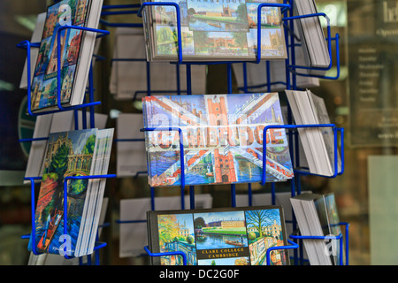 Postcards of Cambridge for sale at souvenir shop, Cambridge, England - Stock Photo