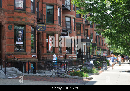 Shops and Cafes along Newbury Street, Back Bay Boston, Massachusetts USA - Stock Photo