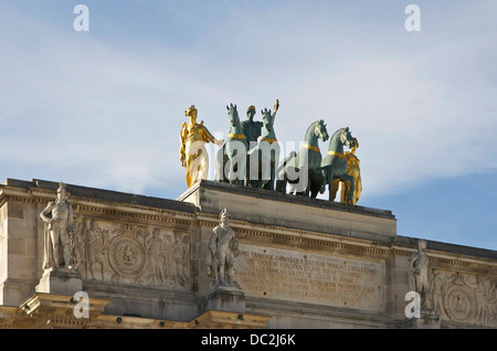 Top of the Arc de Triomphe du Carrousel in Paris, quadriga of Peace riding in a triumphal chariot, by François Joseph - Stock Photo