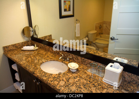 Florida Weston Fort Ft. Lauderdale Bonaventure Resort and & Spa hotel guest room bathroom sink counter mirror - Stock Photo