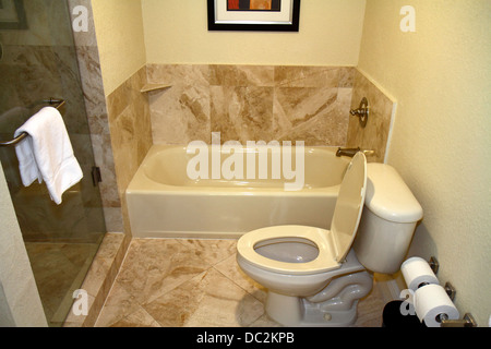 Florida Weston Fort Ft. Lauderdale Bonaventure Resort and & Spa hotel guest room bathroom toilet tub bath shower - Stock Photo