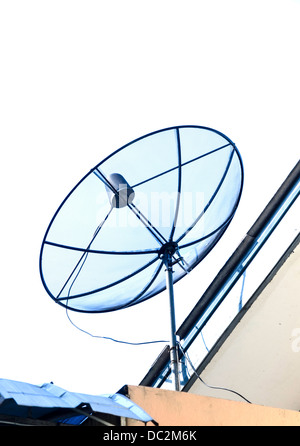 the satellite dish with sky on roof - Stock Photo