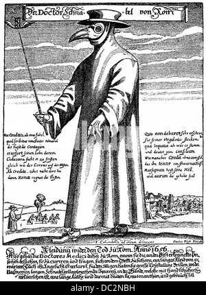Plague Doctor, Doctor Schnabel of Rome, 1656, doctor with a beak mask with herbs and carrying a stick for keeping - Stock Photo