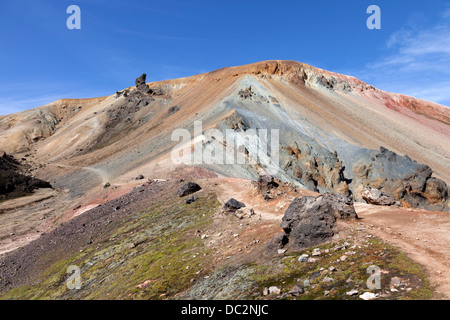 The Brennisteinsalda Volcano Viewed from the Laugavegur Hiking Trail Near Landmannalaugar Fjallabak Nature Reserve - Stock Photo