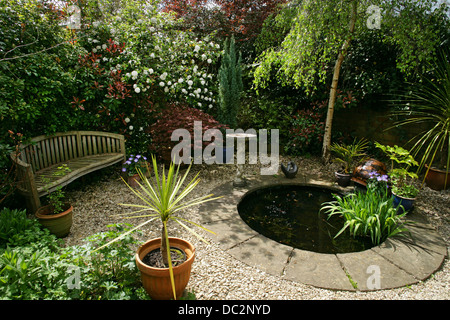 Small garden pond in an english country garden stock photo for Small round pond