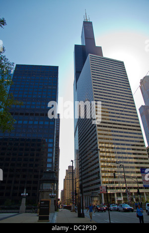 Street view of Willis tower (formerly Sears tower). Chicago, Illinois, USA - Stock Photo