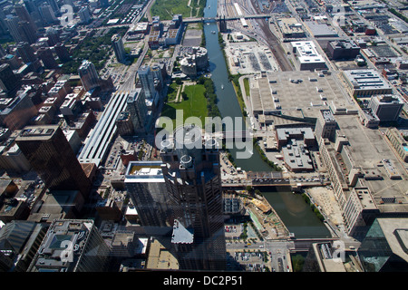 Aerial view of Chicago IL as seen from the Willis tower observation deck. - Stock Photo
