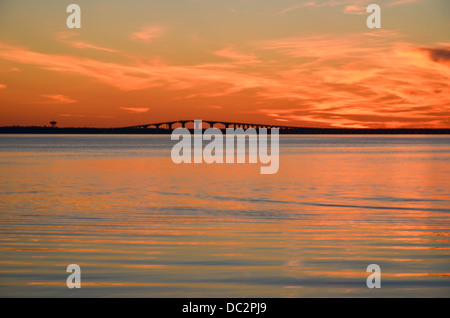 Oland bridge connects the island Oland in the Baltic sea with mainland Sweden - Stock Photo