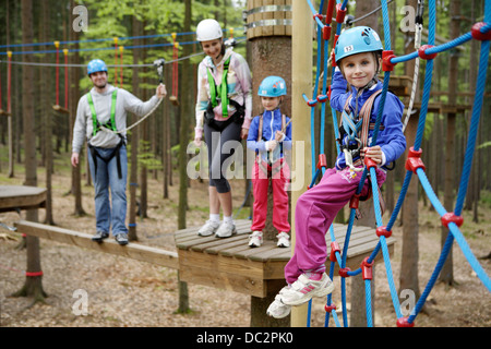 family trip to the climbing center - Stock Photo