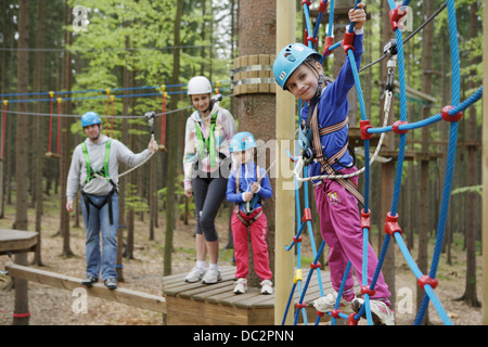 family trip to the climbing center - Stock Photo