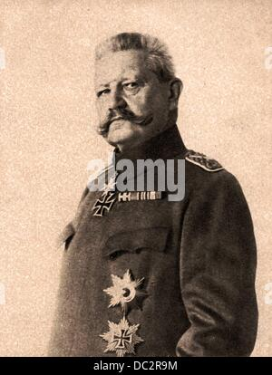 Portrait of Field Marshal Paul von Hindenburg is pictured on a field postcard of the Ludendorff Charity for the - Stock Photo