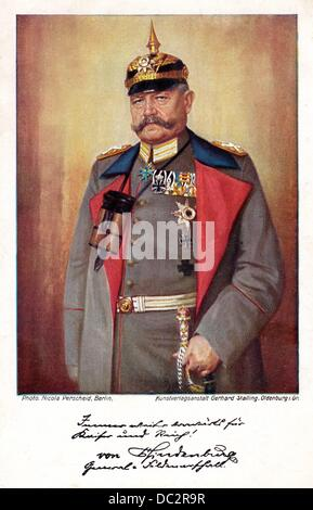 The historical colored postcard from World War I shows a painting of Field Marshal Paul von Hindenburg. Date unknown. - Stock Photo