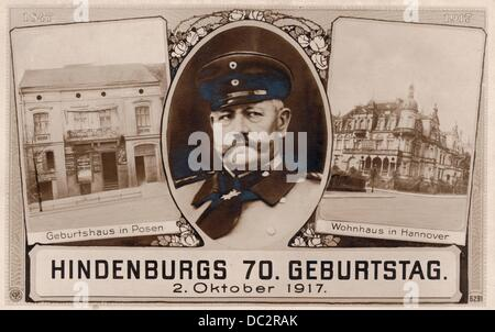 The honorary postcard on the occasion of Field Marshal Paul von Hindenburg's 70th birthday in 2 October 1917 shows - Stock Photo