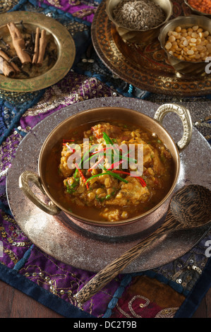 Chicken Dhansak Spicy chicken and lentil curry India Food - Stock Photo