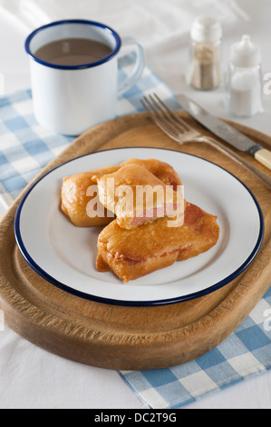 Spam fritters. Processed pork meat deep fried in batter. - Stock Photo