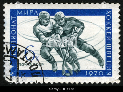 USSR,post mark,stamp, art,Ice Hockey World Championships, Sweden, 1970 - Stock Photo