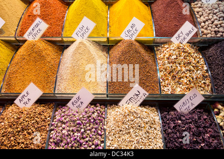 Spices on a stall in the Grand Bazaar of Istanbul, Turkey - Stock Photo