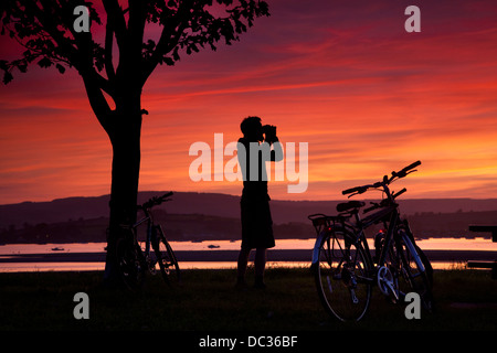 Sunset on the River Exe, Devon, UK - Stock Photo