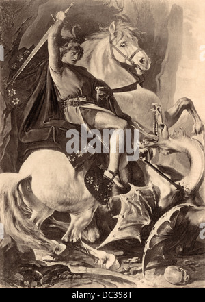 Saint George slaying the dragon. Photogravure reproduction of an illustration - Stock Photo