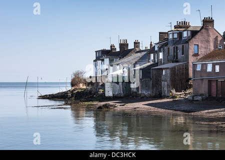 Houses at Ferryden on the South Esk Estuary in Scotland. - Stock Photo