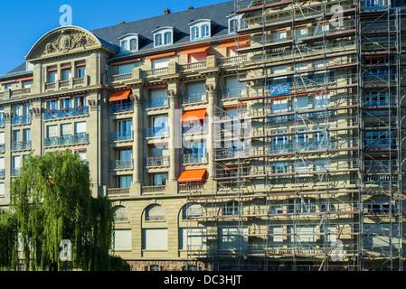 Esca condominium building with scaffolding Strasbourg Alsace France - Stock Photo