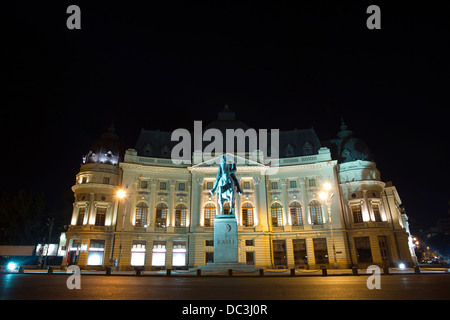 The Central University Library is located in Bucharest center, with statue of Carol I, first king of Romania in - Stock Photo