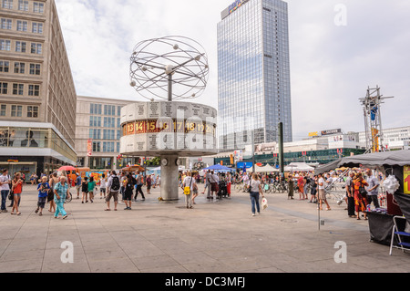 Street market at the Urania World Clock Berlin Alexanderplatz (Alex), Germany - Stock Photo