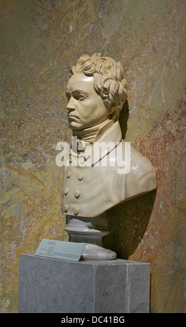 Bust of Ludwig van Beethoven, by Franz Klein, from a cast of the face of the living artist in 1812. Vienna, Austria, - Stock Photo