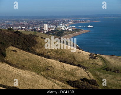A view of Eastbourne from Beachy Head. Eastbourne pier can be clearly seen along the coastline. - Stock Photo