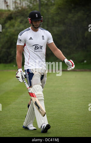 Durham, UK. 8th August 2013. Chris Tremlett at England's training session at the Riverside Ground in Chester-le - Stock Photo