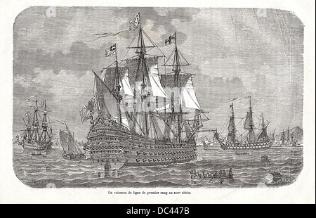 First-rate ship of the Line of the french navy in the 17th century. Engraving by Pibaraud & Lebreton, from the 'National - Stock Photo