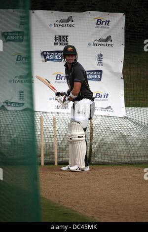Durham, UK. 08th Aug, 2013. Steve Smith in the nets at Australia's training session at the Emirates Durham International - Stock Photo