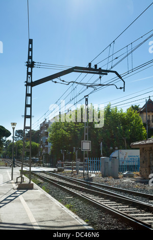 Overhead power line supply to Spanish railway trains - Stock Photo