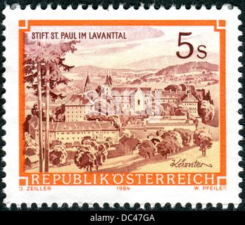 AUSTRIA - CIRCA 1984: A stamp printed in Austria, shows the Benedictine Abbey of St. Paul, Levanttal, circa 1984 - Stock Photo