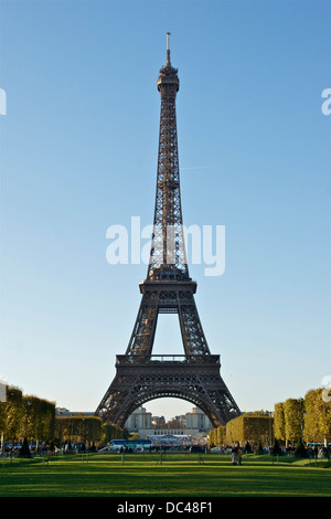 Eiffel Tower, from Champ-de-Mars, Paris. - Stock Photo