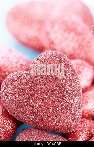 Sparkly Red Heart Background - Stock Photo