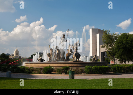 The Fountain of Neptune in the Macroplaza, central Monterrey, Mexico. - Stock Photo