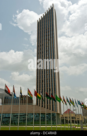 Skyscraper of the African Union Conference Center and Office Complex (AUCC), Addis Ababa, Ethiopia - Stock Photo