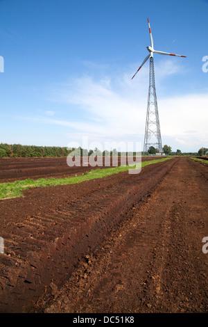 Europe, Germany, Lower Saxony, Emsland, Esterwegen,Industrial peat cutting - Stock Photo