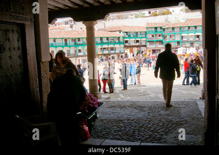 Main Square viewed from the arcade. Chinchon, Madrid province, Spain. - Stock Photo