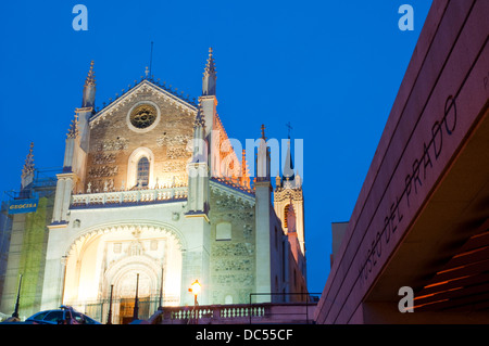 Facade of San Jeronimo El Real church from The Prado museum, night view. Madrid, Spain. - Stock Photo