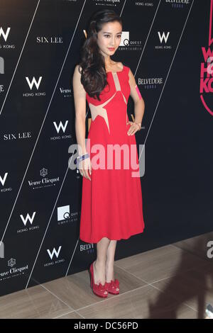 Hong Kong, China. 8th Aug, 2013. Actress Angelababy attends the 5th Anniversary celebration activity held by a hotel - Stock Photo