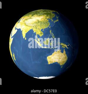 AVHRR satellite image globe showing Austalia, Indonesia, South East Asia and Japan - Stock Photo